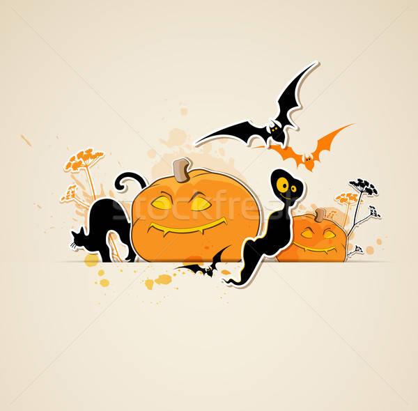 Halloween fantasma vetor abóboras gato laranja Foto stock © Artspace