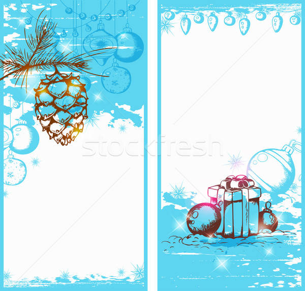 Blue Christmas vertical banners Stock photo © Artspace