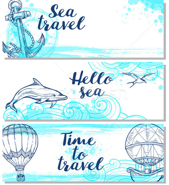 Blue horizontal marine banners Stock photo © Artspace