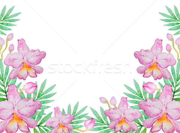 Foto stock: Aquarela · rosa · orquídeas · folhas · verdes · natureza · projeto