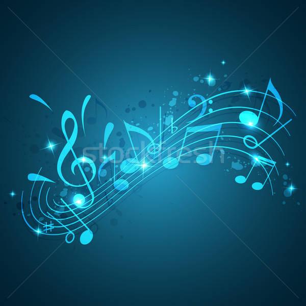 Kék zene absztrakt vektor hangjegyek háttér Stock fotó © Artspace