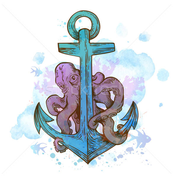 Vintage hand drawn anchor and octopus Stock photo © Artspace
