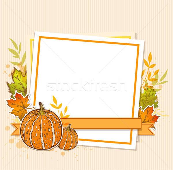 Foto stock: Otono · marco · calabazas · arce · hojas · hoja