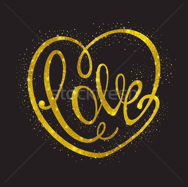 Vector golden glittering heart Stock photo © Artspace