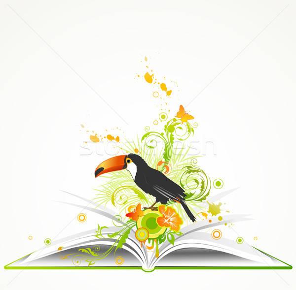 Photo stock: Livre · ouvert · fleurs · tropicales · oiseau · ouvrir · vert