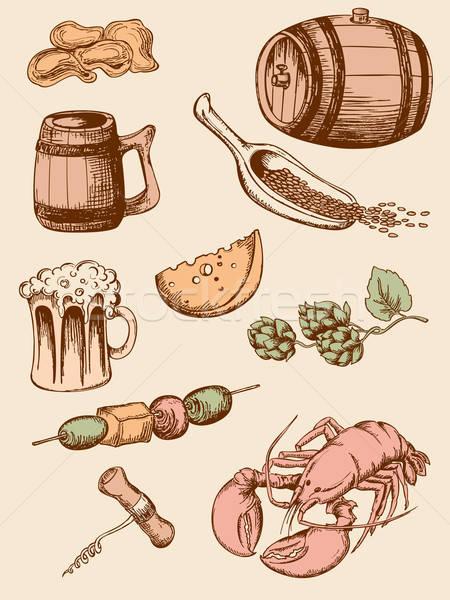 Vintage bière dessinés à la main icônes Photo stock © Artspace