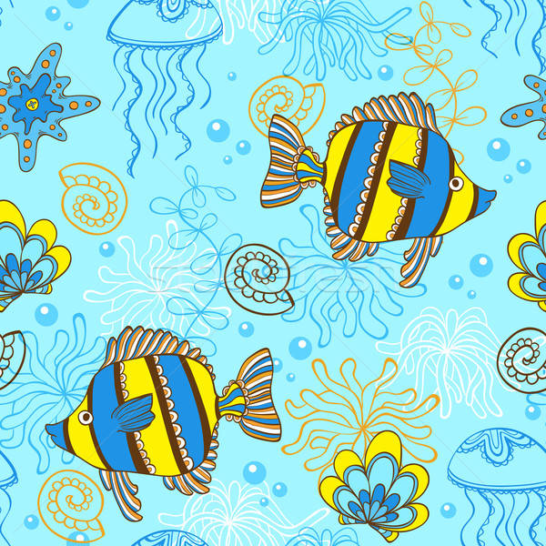 Pattern with fishes and shells Stock photo © Artspace