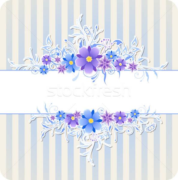 Stock fotó: Kék · virágok · csíkok · dekoratív · vektor · tavasz