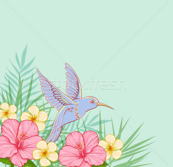 Pink flowers and flying bird Stock photo © Artspace