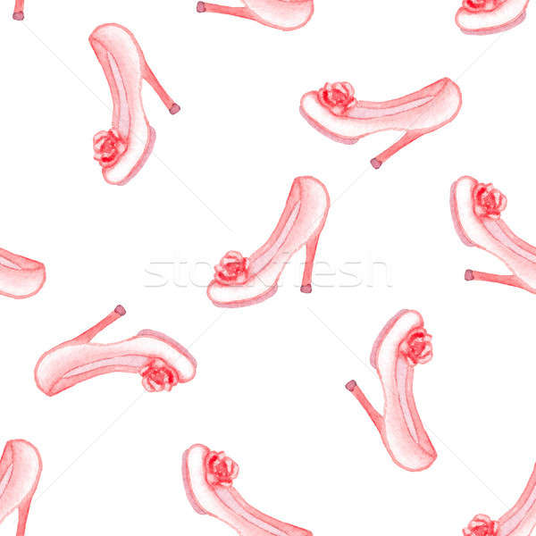 Foto d'archivio: Pattern · rosa · scarpe · acquerello