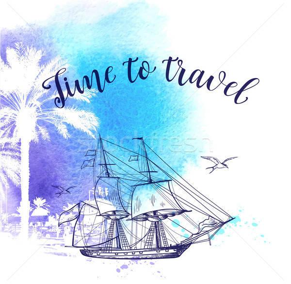 Stock fotó: Vízfesték · utazás · klasszikus · vektor · vitorlás · hajó · kék