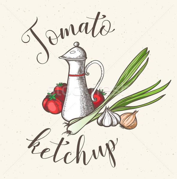 Jar pomodoro ketchup vintage brocca verdure fresche Foto d'archivio © Artspace