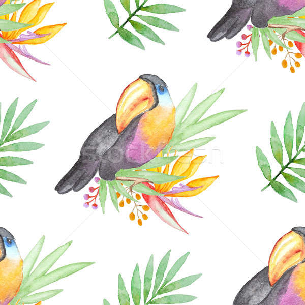 Stock photo: Watercolor tropical pattern