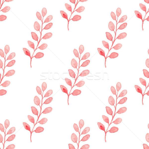 Muster rosa Zweig Hand gezeichnet Wasserfarbe Stock foto © Artspace