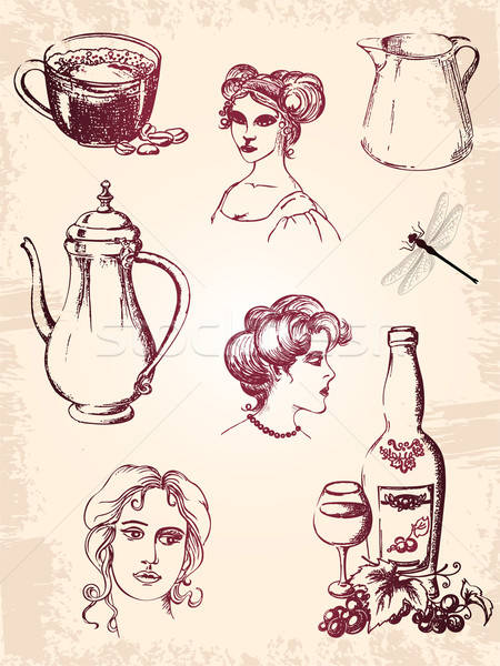 Klasszikus terv elemek nő bor üveg Stock fotó © Artspace