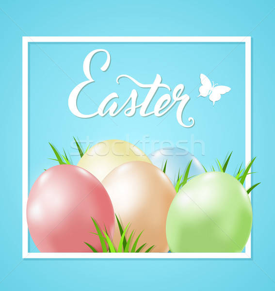 Easter card with eggs and grass Stock photo © Artspace