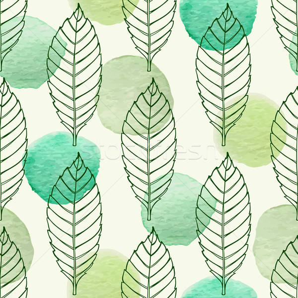 Pattern with leaves and green watercolor blots Stock photo © Artspace
