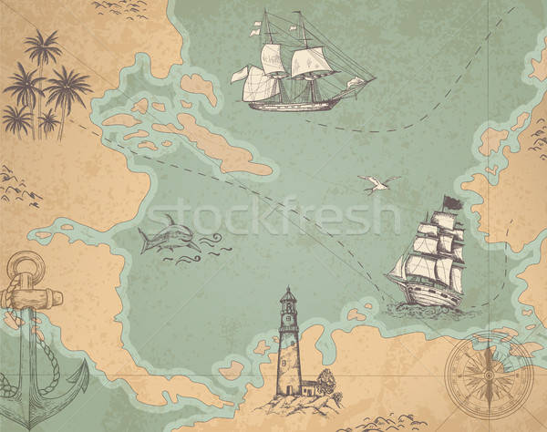 Stock photo: Vintage vector marine map