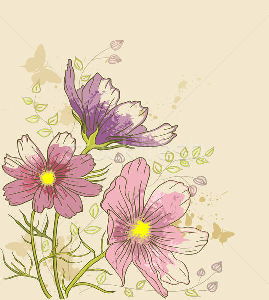 floral background with cosmos flowers Stock photo © Artspace