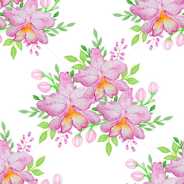 Foto stock: Aquarela · rosa · orquídeas · folhas · verdes · natureza