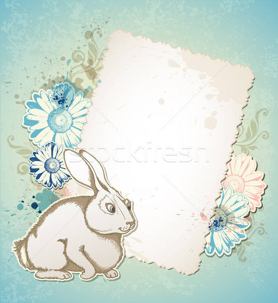 Easter card with rabbit and flowers Stock photo © Artspace
