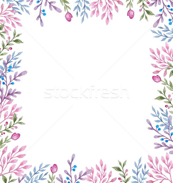 Floral frame with flowers and leaves Stock photo © Artspace