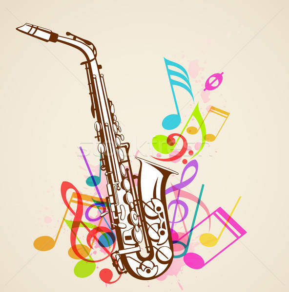 Stock photo: Music notes and saxophone