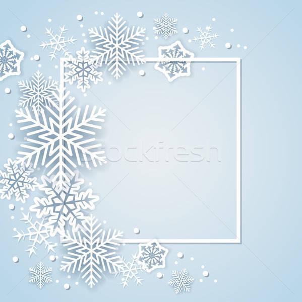 ストックフォト: 休日 · 白 · 紙 · 雪 · フレーム · 抽象的な