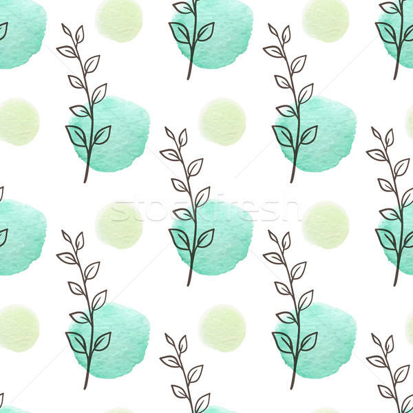 Stock photo: Seamless pattern with green leaves