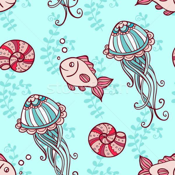 Végtelen minta meduza hal tengeri zöld kézzel rajzolt Stock fotó © Artspace