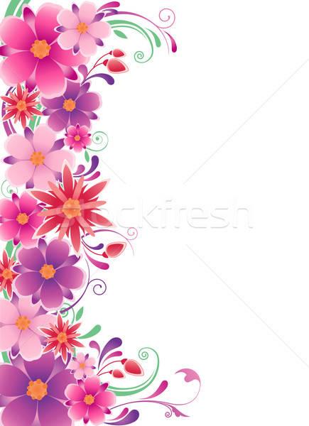 Kwiatowy ozdoba kwiaty pozostawia projektu tle Zdjęcia stock © Artspace