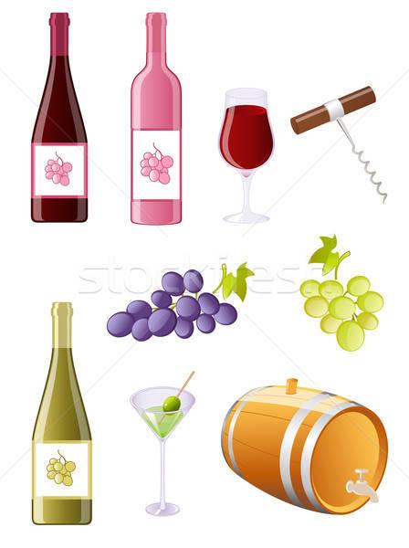 Bor szőlő ikon gyűjtemény fa gyümölcs üveg Stock fotó © Artspace