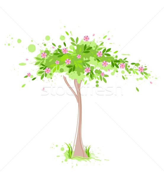 Zöld tavasz fa vektor rózsaszín virágok Stock fotó © Artspace