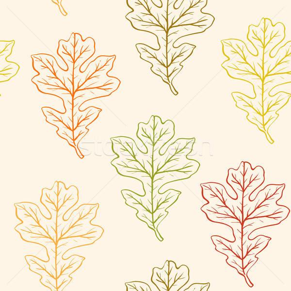 Végtelen minta tölgy levelek vektor ősz fa Stock fotó © Artspace