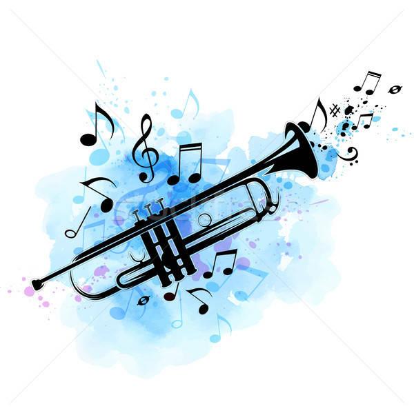 Zwarte trompet merkt Blauw aquarel textuur Stockfoto © Artspace