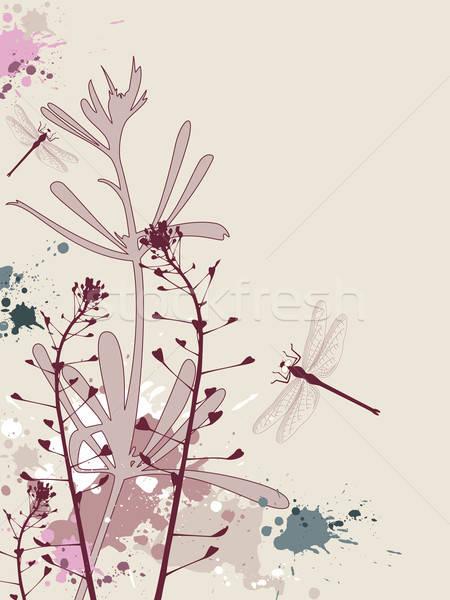 グランジ 花 トンボ 効果 春 草 ストックフォト © Artspace