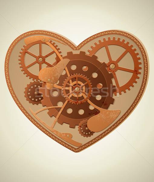 Steampunk coeur vecteur mécanique style fond Photo stock © Artspace