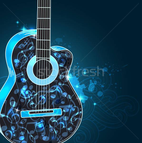 Zene gitár vektor absztrakt fekete kék Stock fotó © Artspace