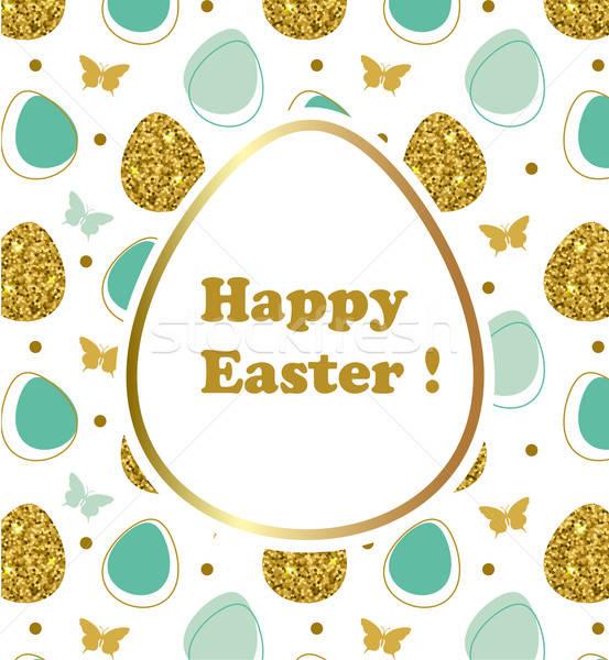 Dekoratív húsvét vektor húsvéti tojások pillangó tavasz Stock fotó © Artspace