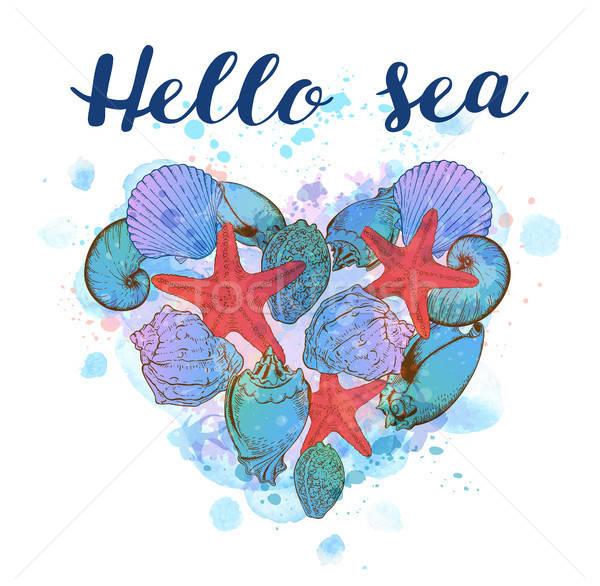 Stock fotó: Szív · tenger · kagylók · tengeri · kék · vízfesték