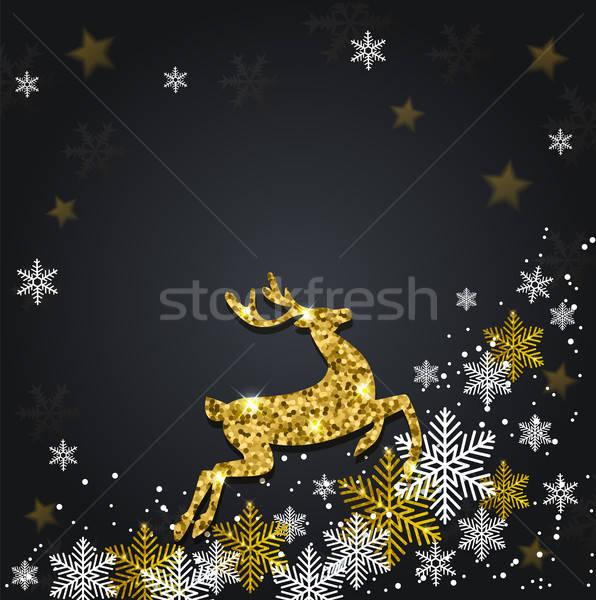 ストックフォト: 雪 · グリッター · 鹿 · ベクトル · クリスマス