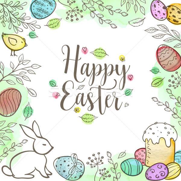 Decorativo Pasqua biglietto d'auguri uova coniglio foglie Foto d'archivio © Artspace