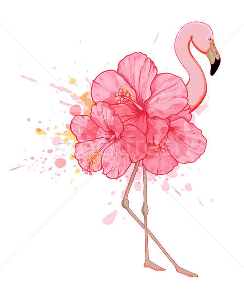 Pink floral flamingo Stock photo © Artspace