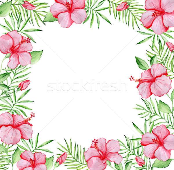 Virágmintás keret piros hibiszkusz virágok vízfesték Stock fotó © Artspace