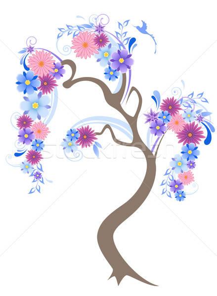 çiçekli ağaç vektör mavi çiçekler kuş Stok fotoğraf © Artspace