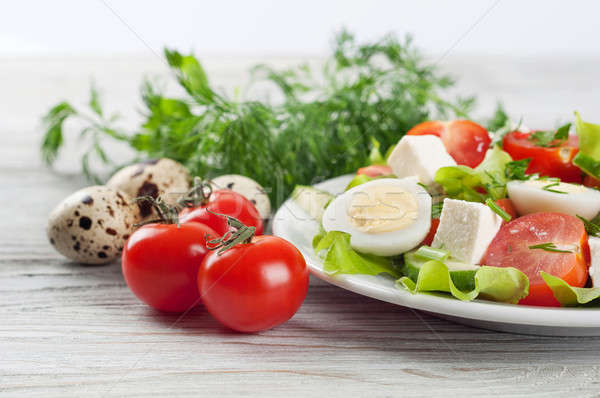 Salad with cherry tomato and eggs Stock photo © Artspace
