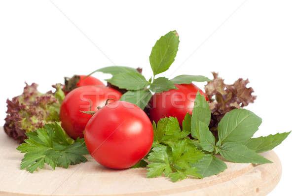 Friss zöldségek friss piros paradicsomok zöld petrezselyem Stock fotó © Artspace