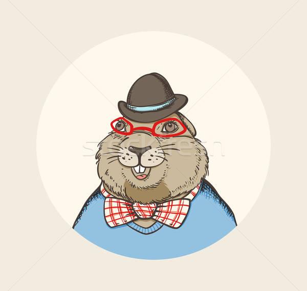 Marmot hipster Stock photo © Artspace