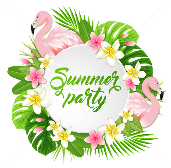 Summer banner with flamingo Stock photo © Artspace