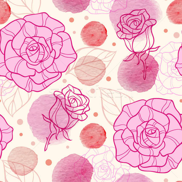Pink watercolor blots and roses Stock photo © Artspace